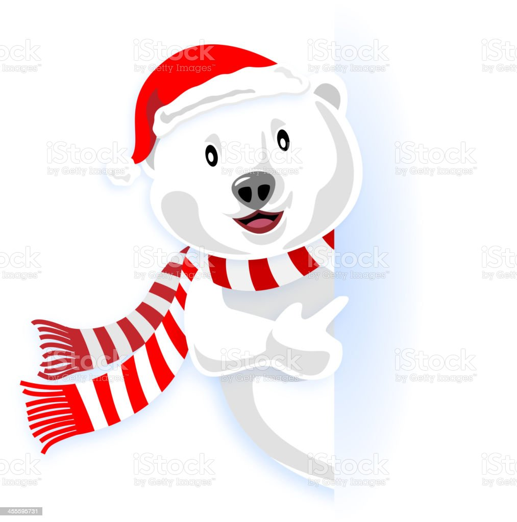Christmas Polar Bear Pointing vector art illustration
