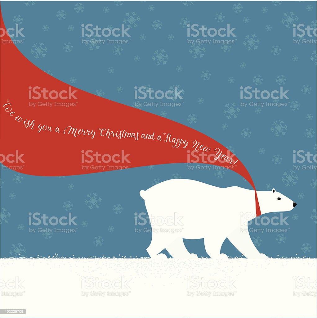 Christmas Polar bear with red scarf vector art illustration