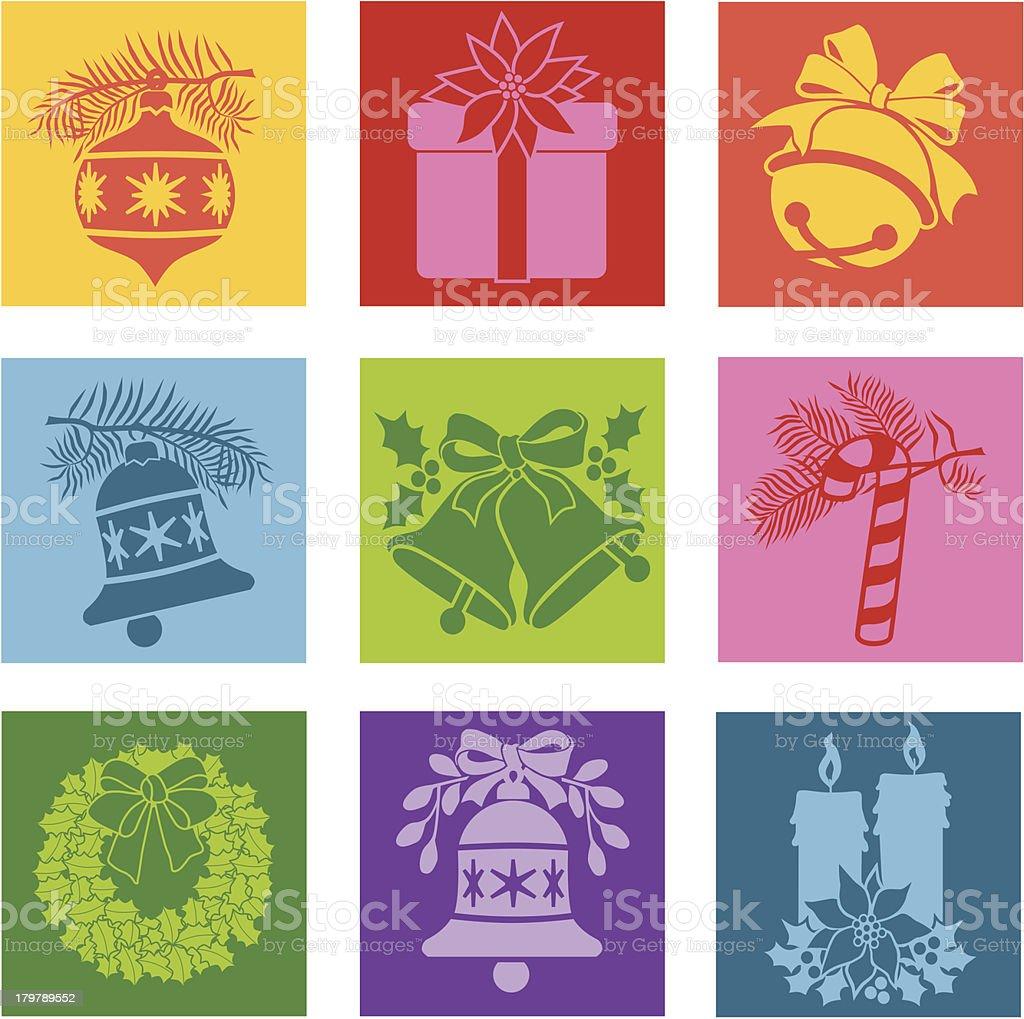 Christmas pop art icons vector art illustration