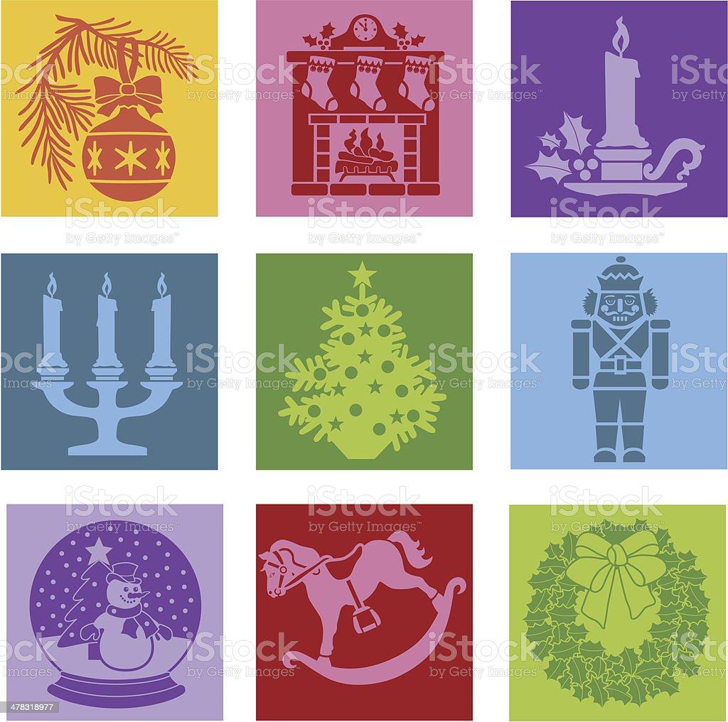 Christmas pop art icons royalty-free stock vector art