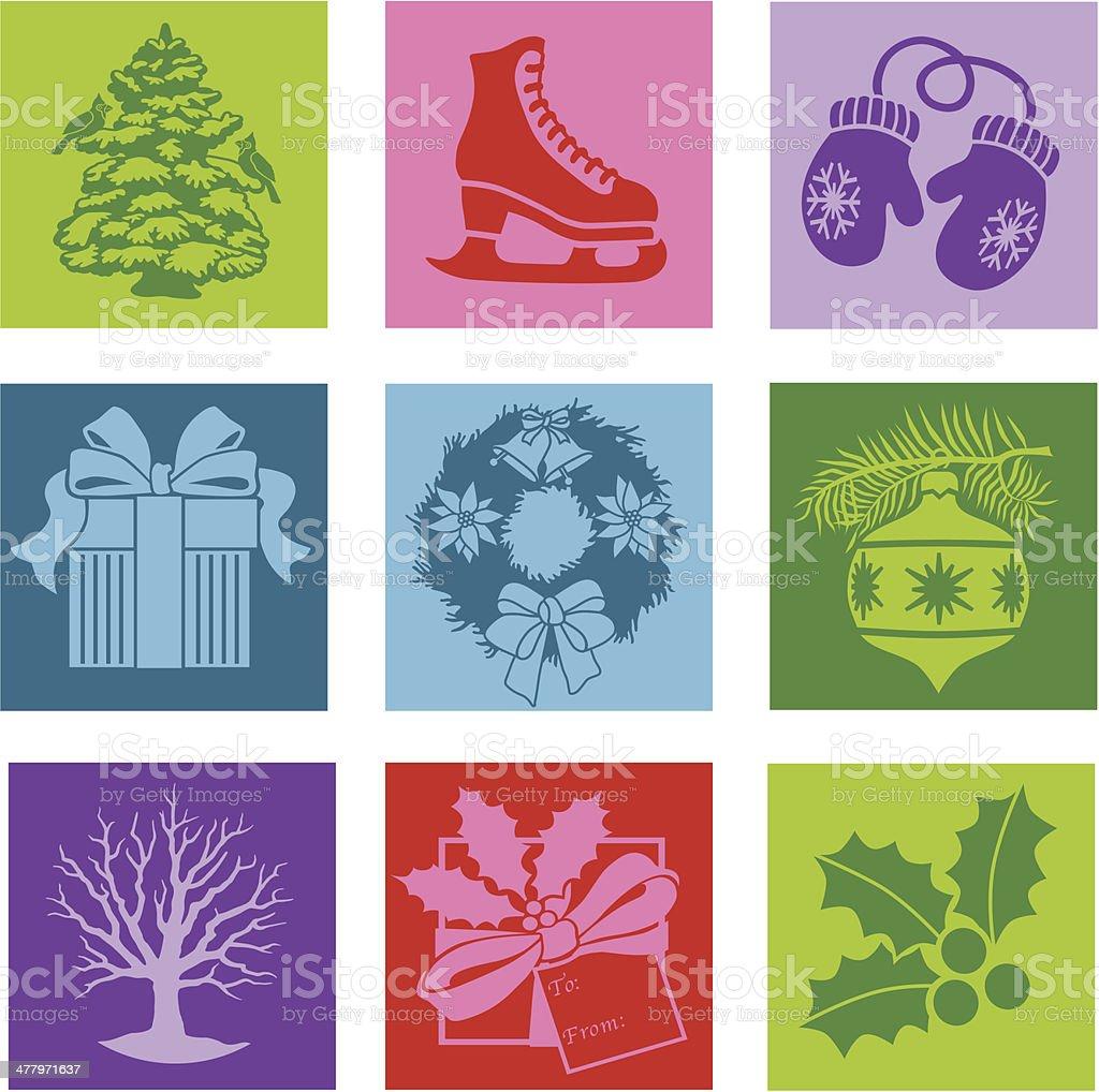 Christmas pop art style icons royalty-free stock vector art