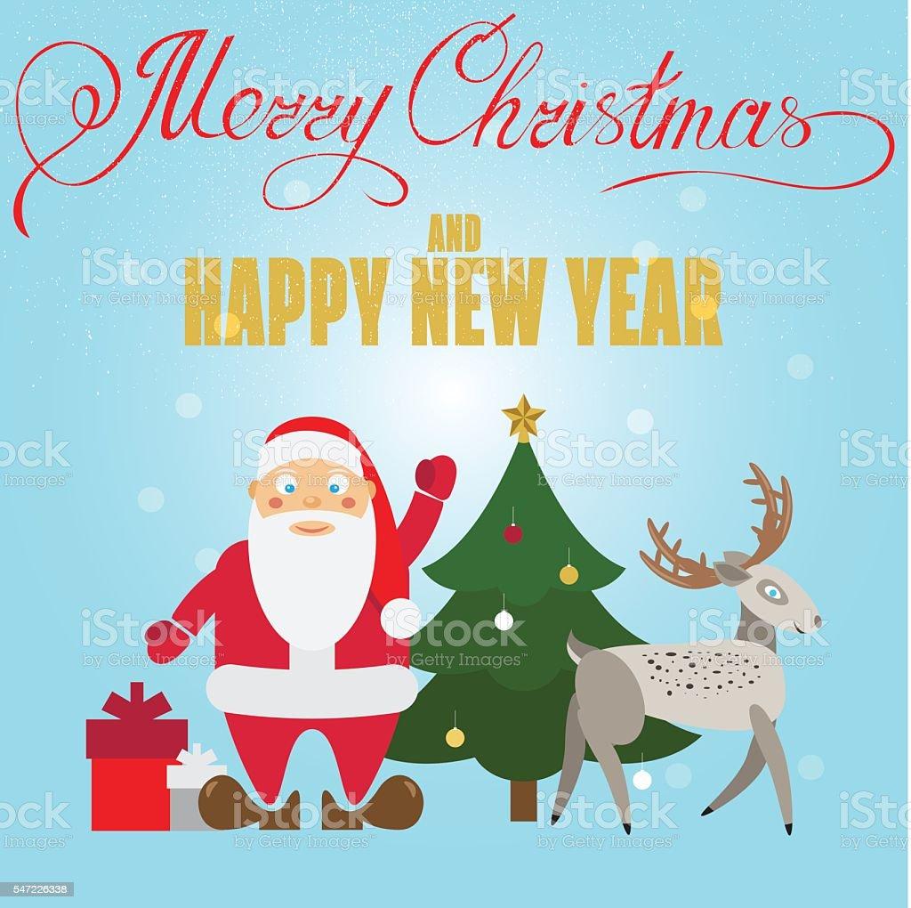 Xmas poster design - Christmas Poster Design With Santa Claus Deer Christmas Tree Royalty Free Stock Vector