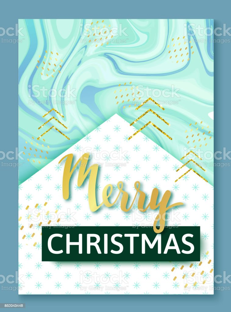 Christmas poster or background, party invitation template with golden glitter, marble and metal foil texture, lettering, winter holidays celebration banner, trendy vector illustration vector art illustration