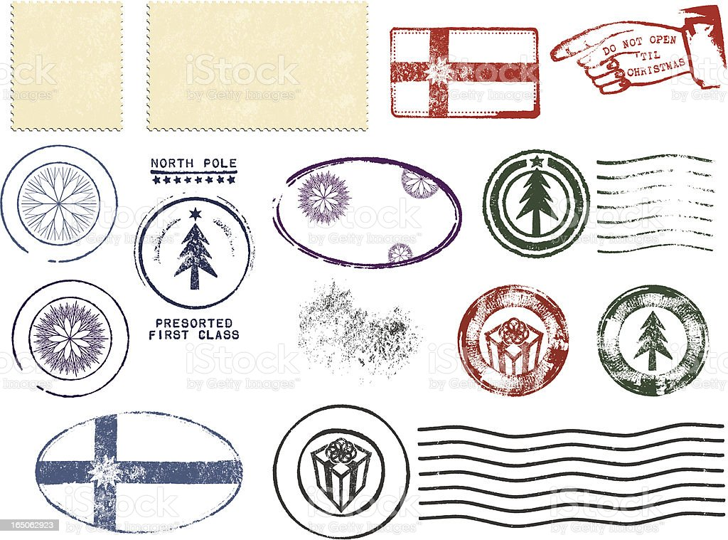 Christmas Postmark Design Set vector art illustration