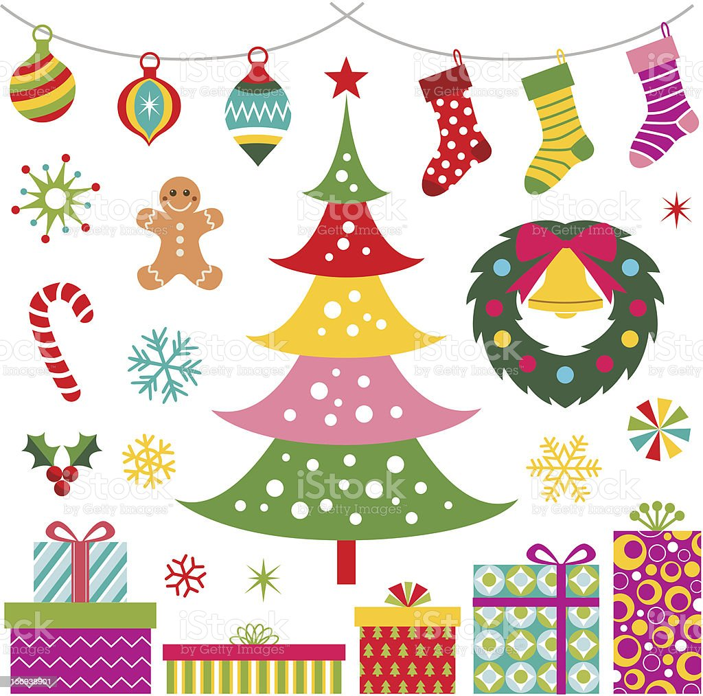 christmas present, ornaments and tree set royalty-free stock vector art