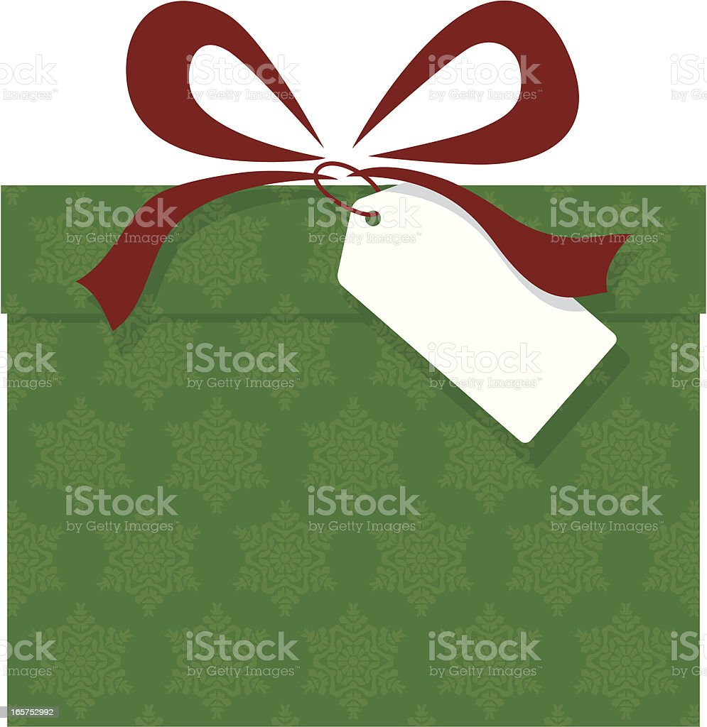 Christmas Present with Bow and Blank Tag vector art illustration