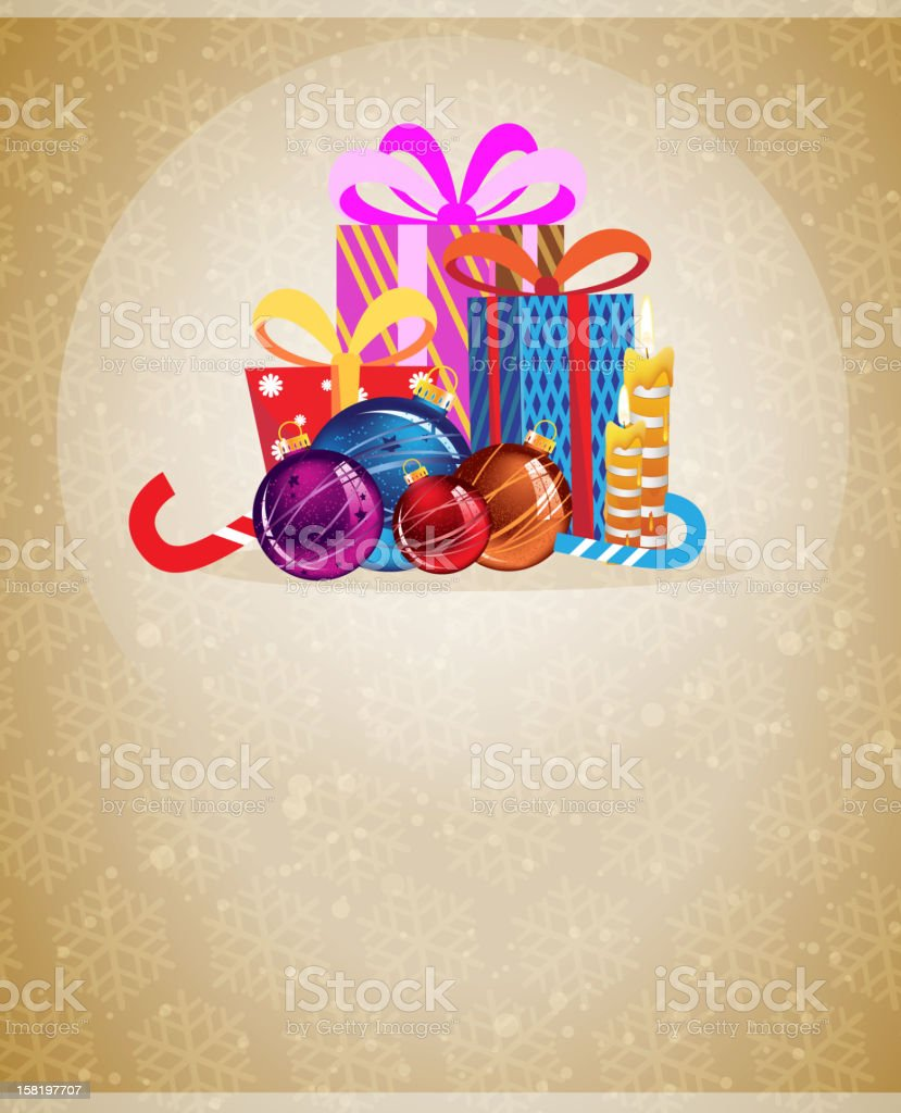 Christmas presents and ornaments royalty-free stock vector art