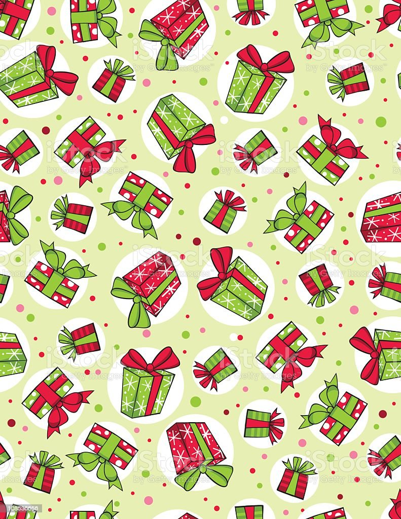 Christmas presents in a seamless pattern royalty-free stock vector art