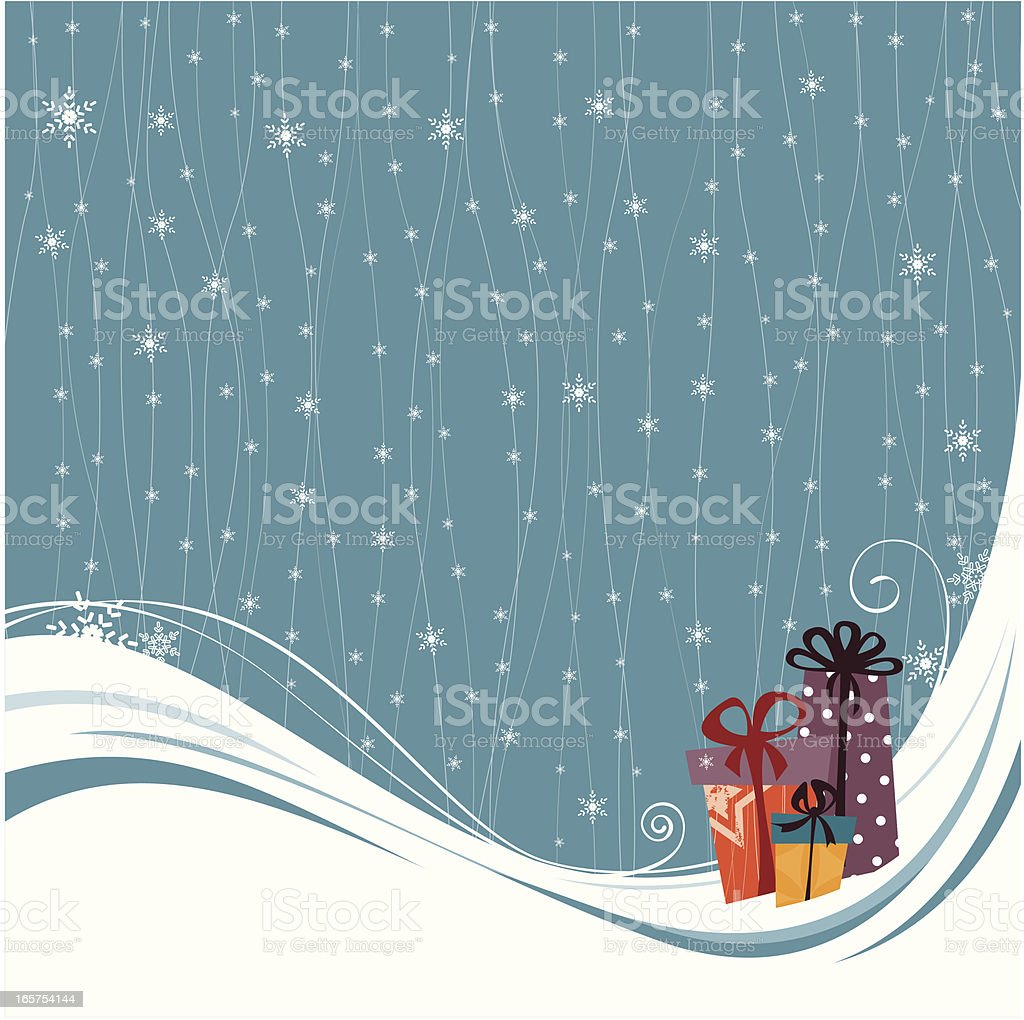 Christmas presents on snow background royalty-free stock vector art