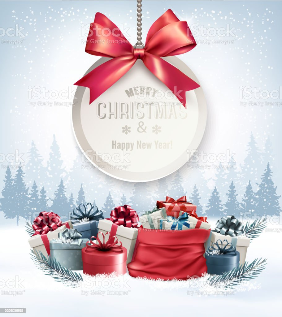 Christmas presents with a gift card and a ribbon. Vector. vector art illustration
