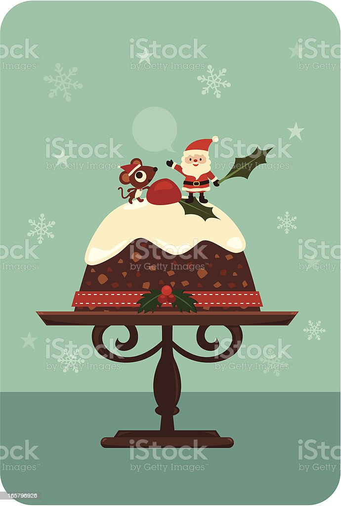 Christmas pudding cake with a Santa royalty-free stock vector art