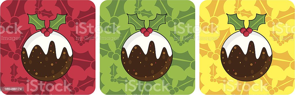 Christmas Pudding Icons with Holly Repeat royalty-free stock vector art