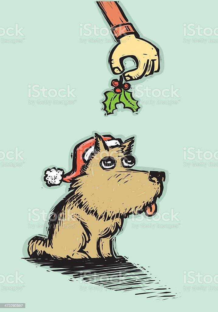 Christmas Puppy vector art illustration