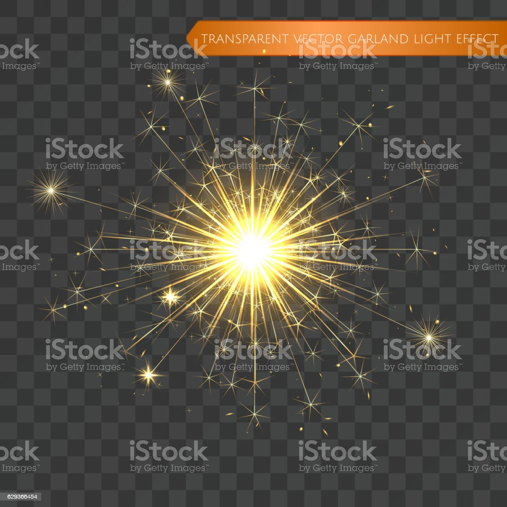Christmas realistic bengal light effect. Isolated sparkler vector art illustration