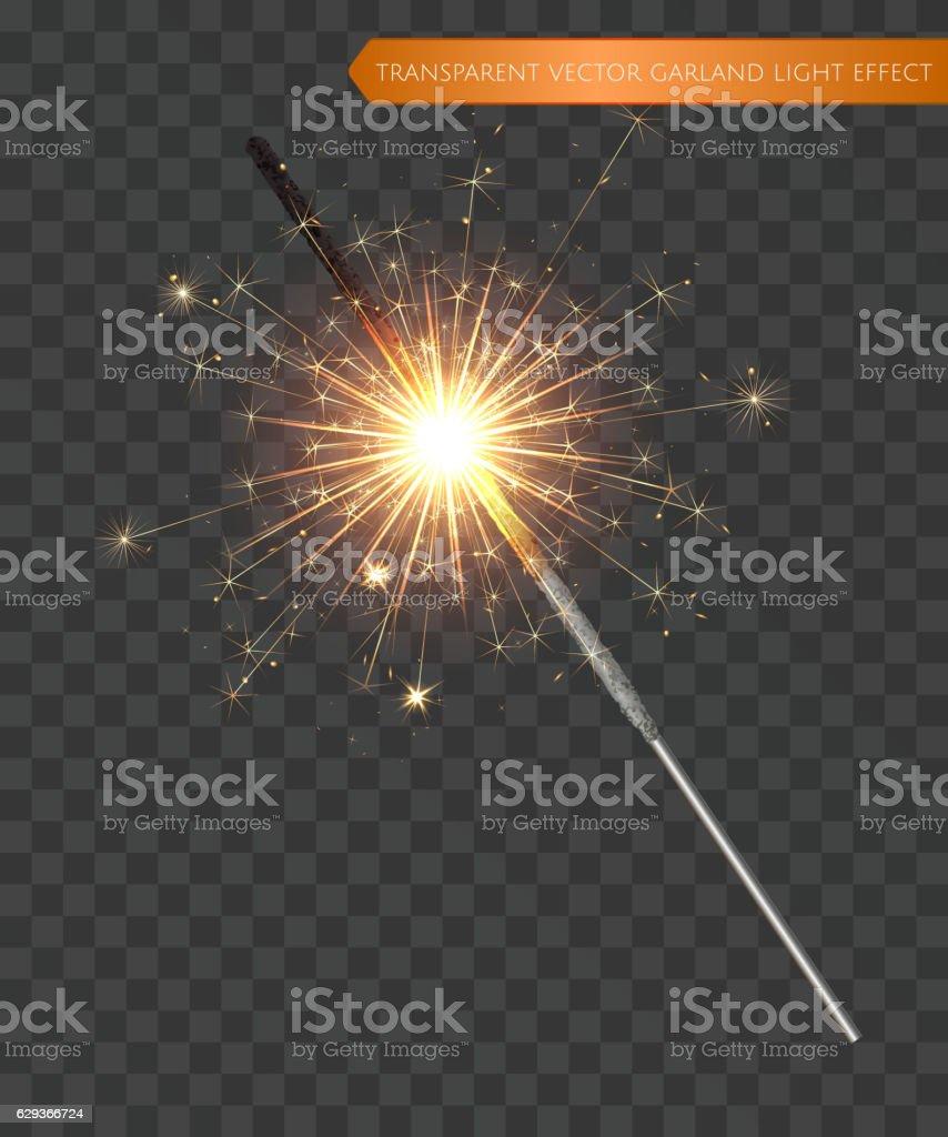Christmas realistic bengal light effect. Isolated sparkler vector art illustration