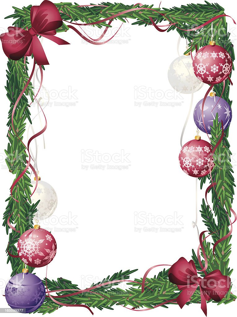 Christmas Red and Purple Bauble Fame with Bows royalty-free stock vector art