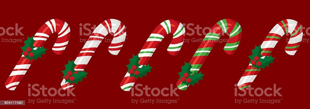 Christmas red candy cane vector art illustration