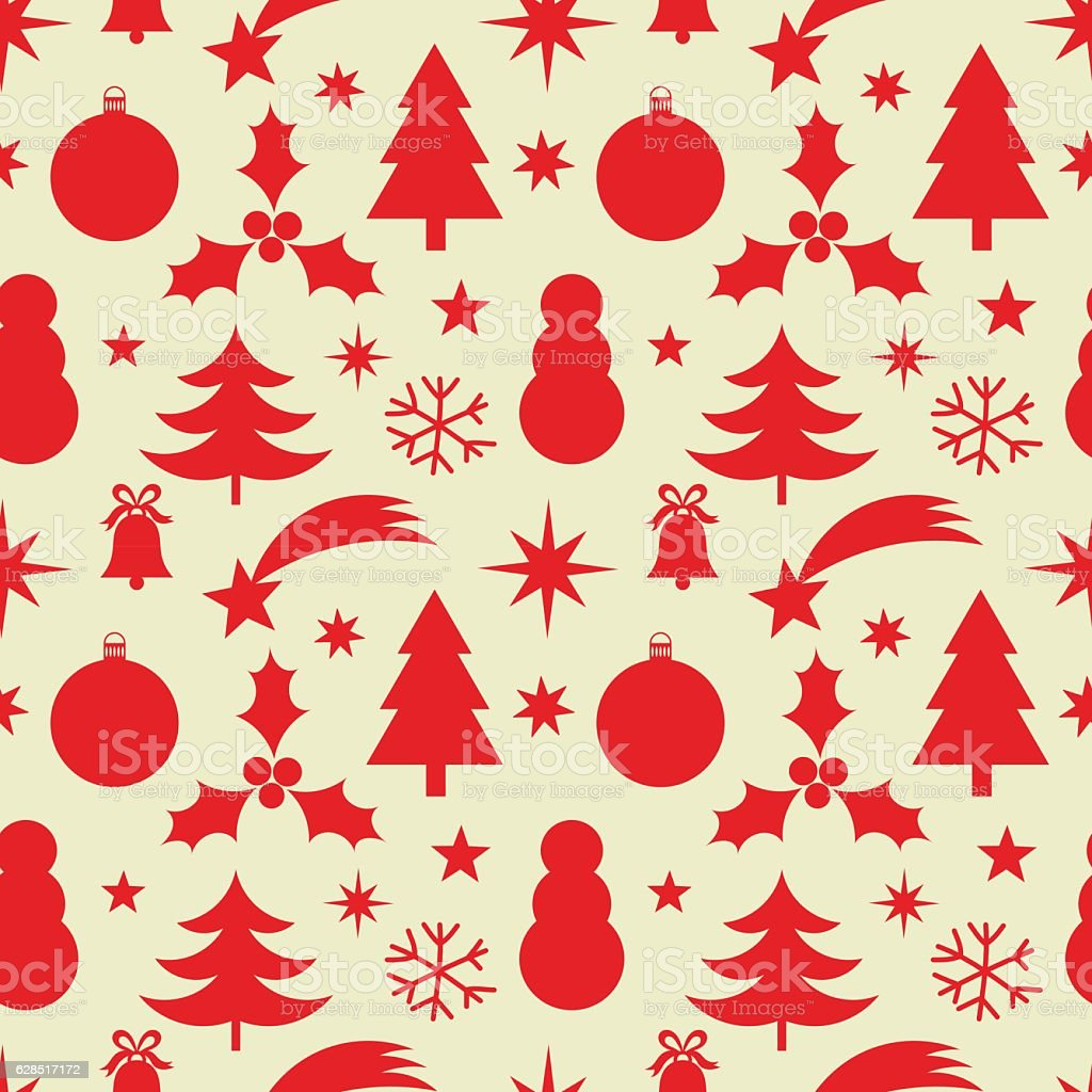 Christmas red pattern vector art illustration