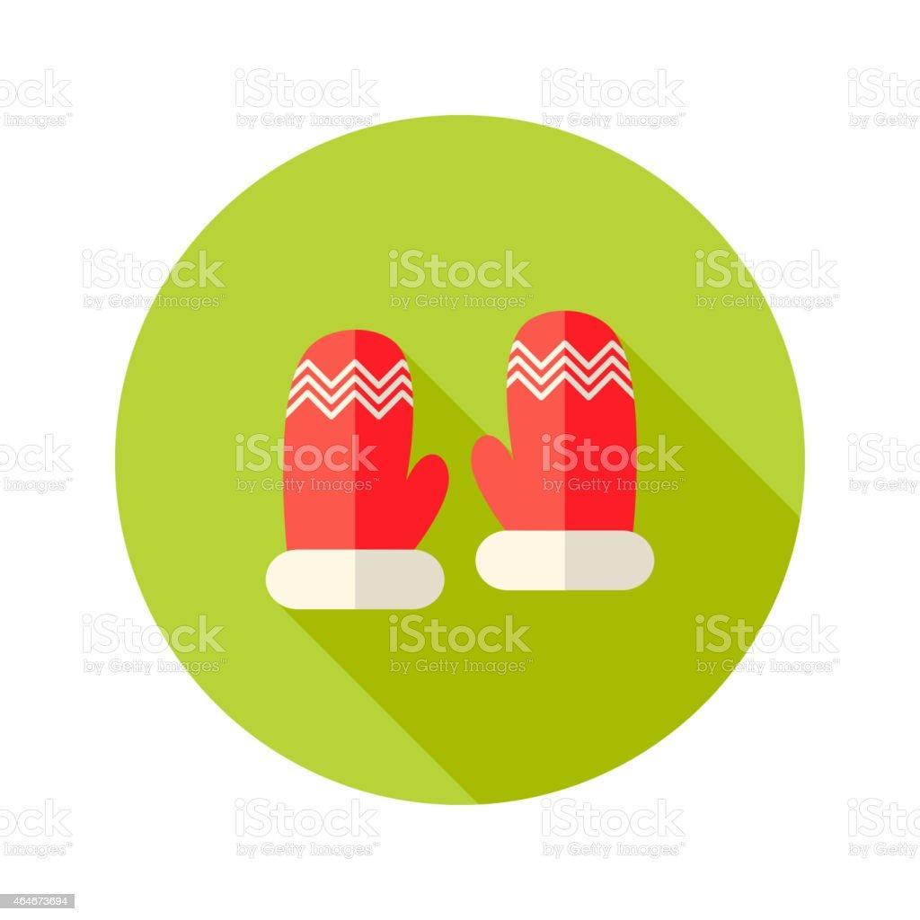 Christmas Red Santa Claus Gloves Flat Icon vector art illustration