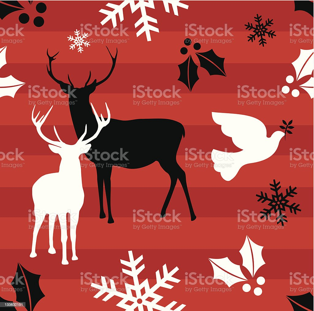 Christmas reindeer and peace dove pattern royalty-free stock vector art