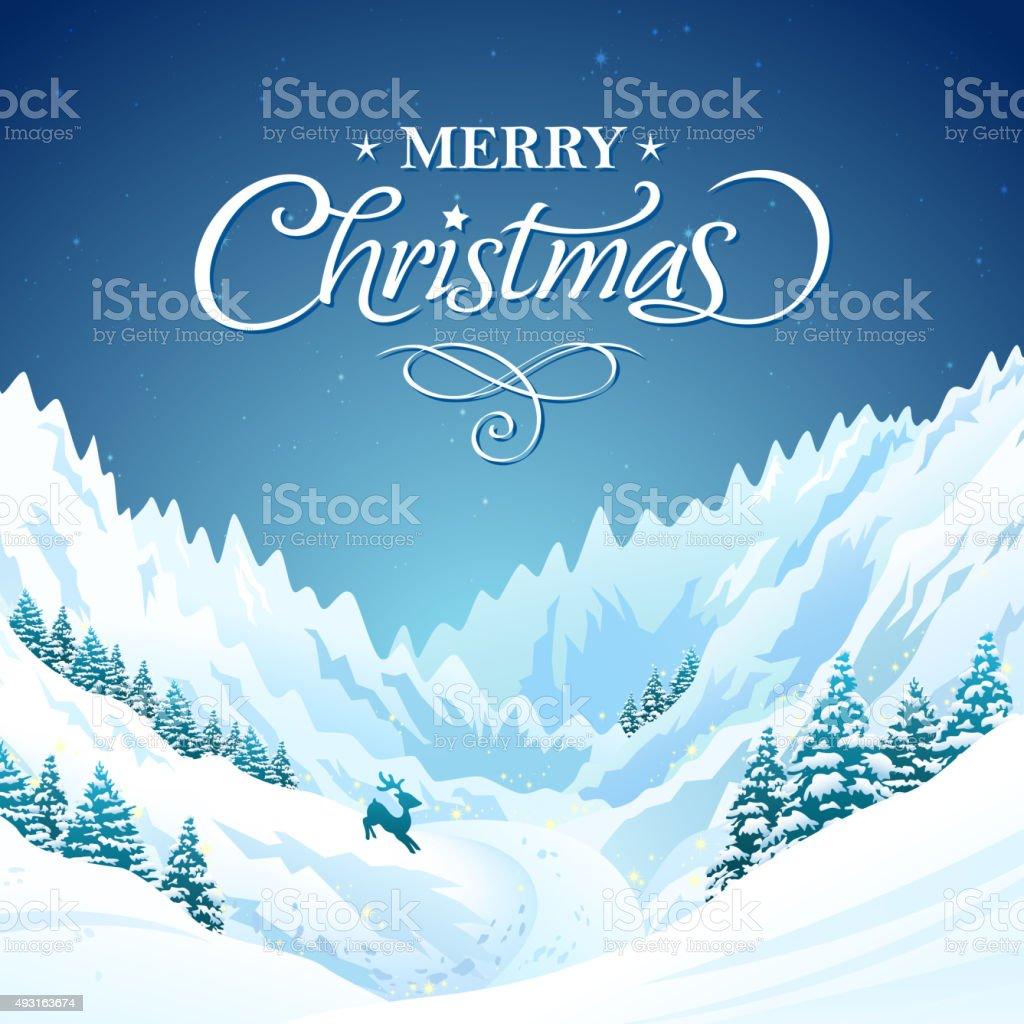 Christmas reindeer in polar mountain vector art illustration