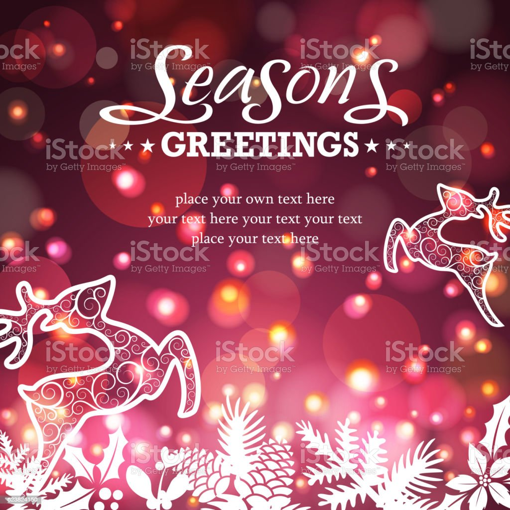 Christmas reindeer in starry background vector art illustration