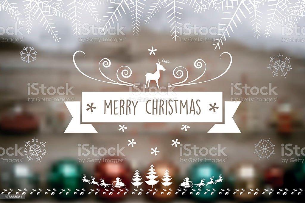christmas reindeer  label on blurred  wooden background vector art illustration