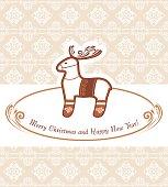 Christmas reindeer on the ornamental background. Vintage postcard
