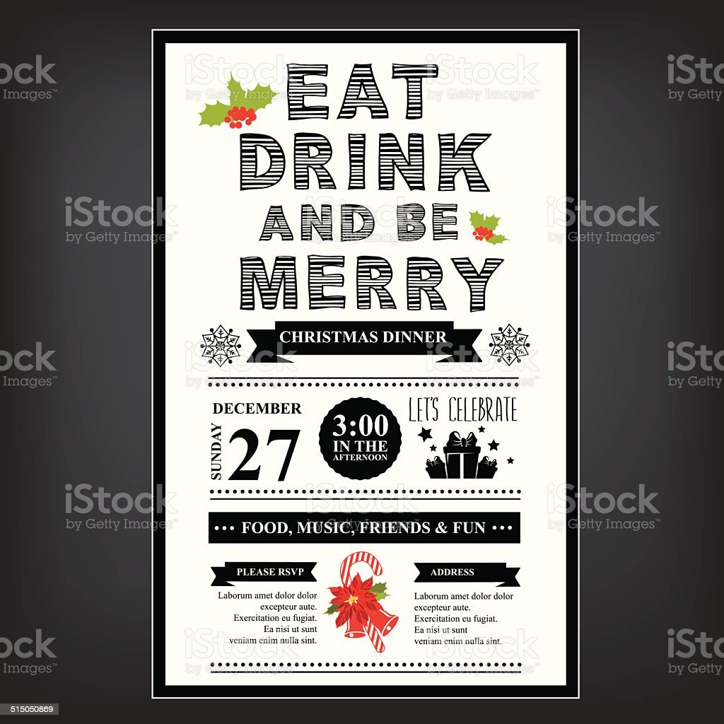 Christmas restaurant and party menu, invitation. vector art illustration
