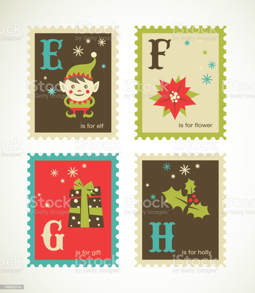 Christmas retro alphabet with cute icons royalty-free stock vector art