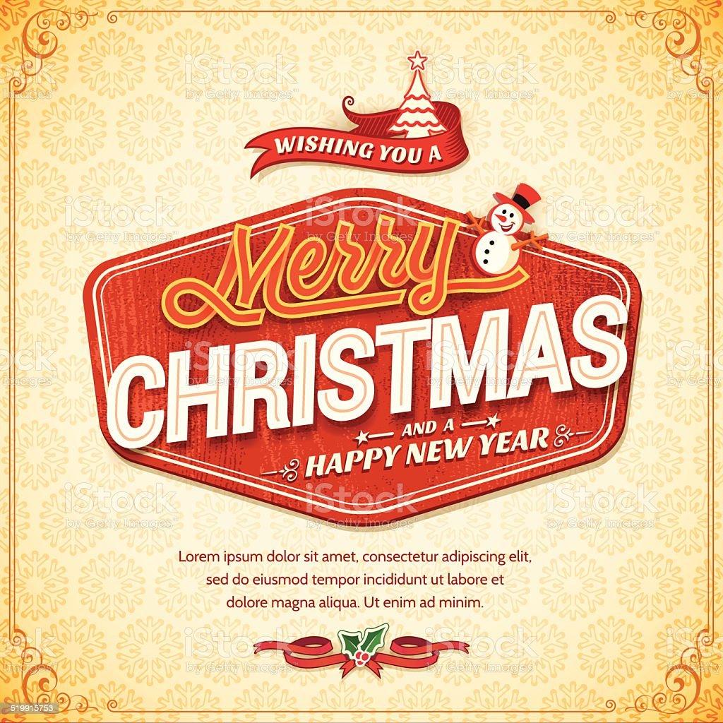 Christmas Retro Card vector art illustration