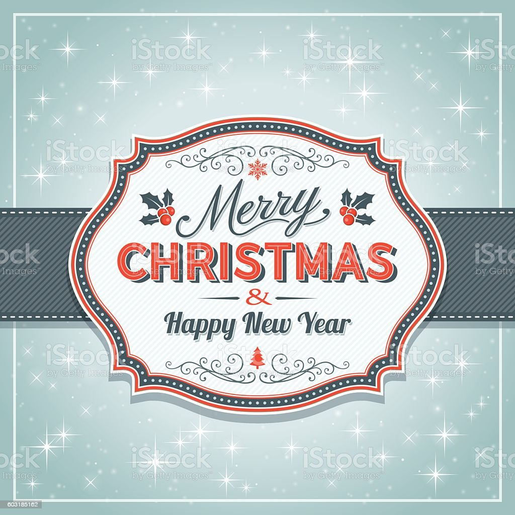 Christmas Retro Frame with snowflakes vector art illustration