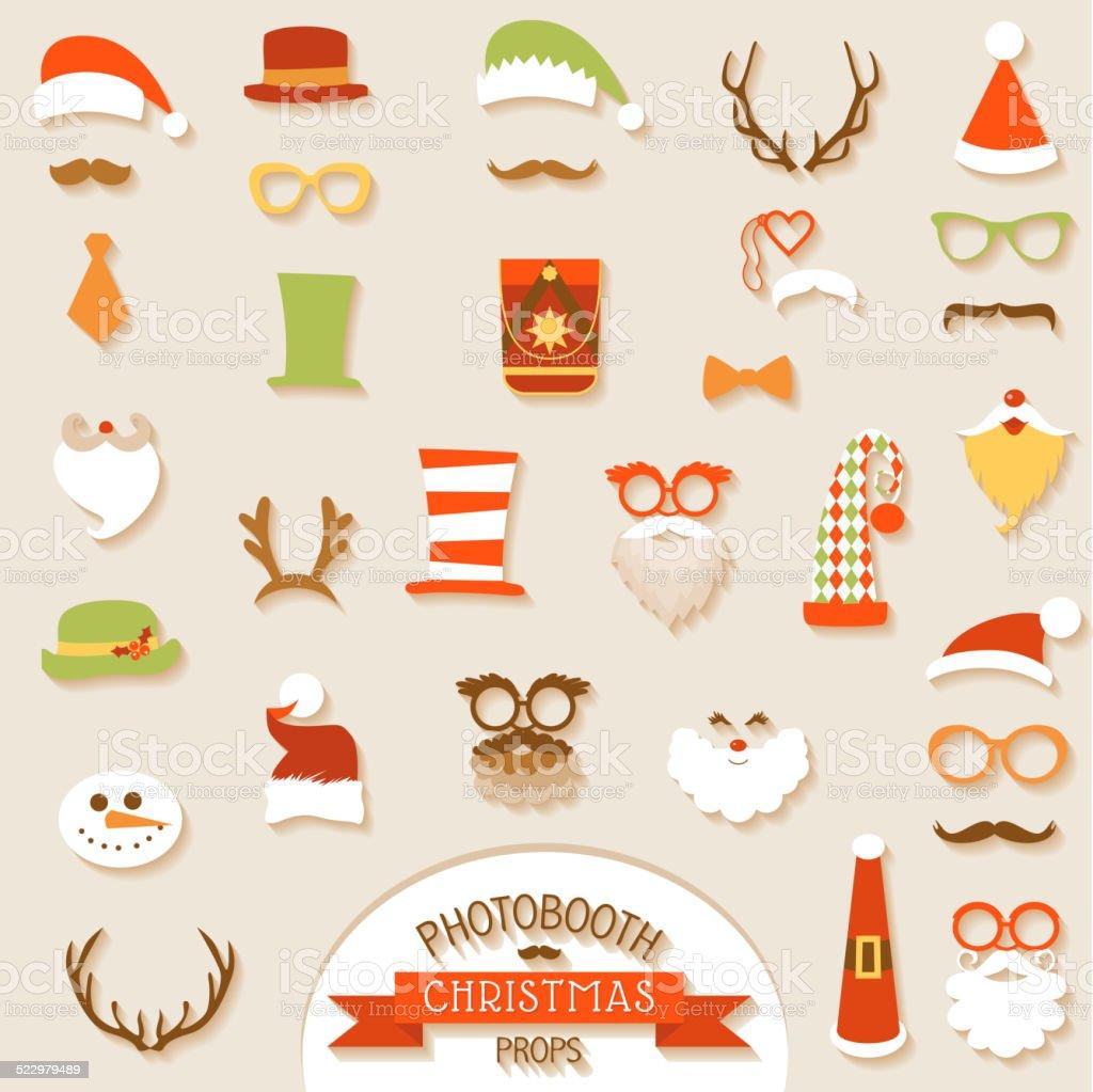 Christmas Retro Party set - Glasses, hats, lips, mustaches, mask vector art illustration