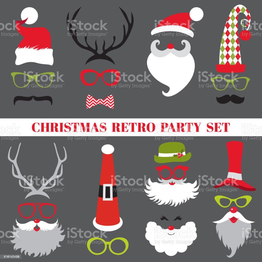 Christmas Retro Party set - Glasses, hats, lips, mustaches, masks vector art illustration