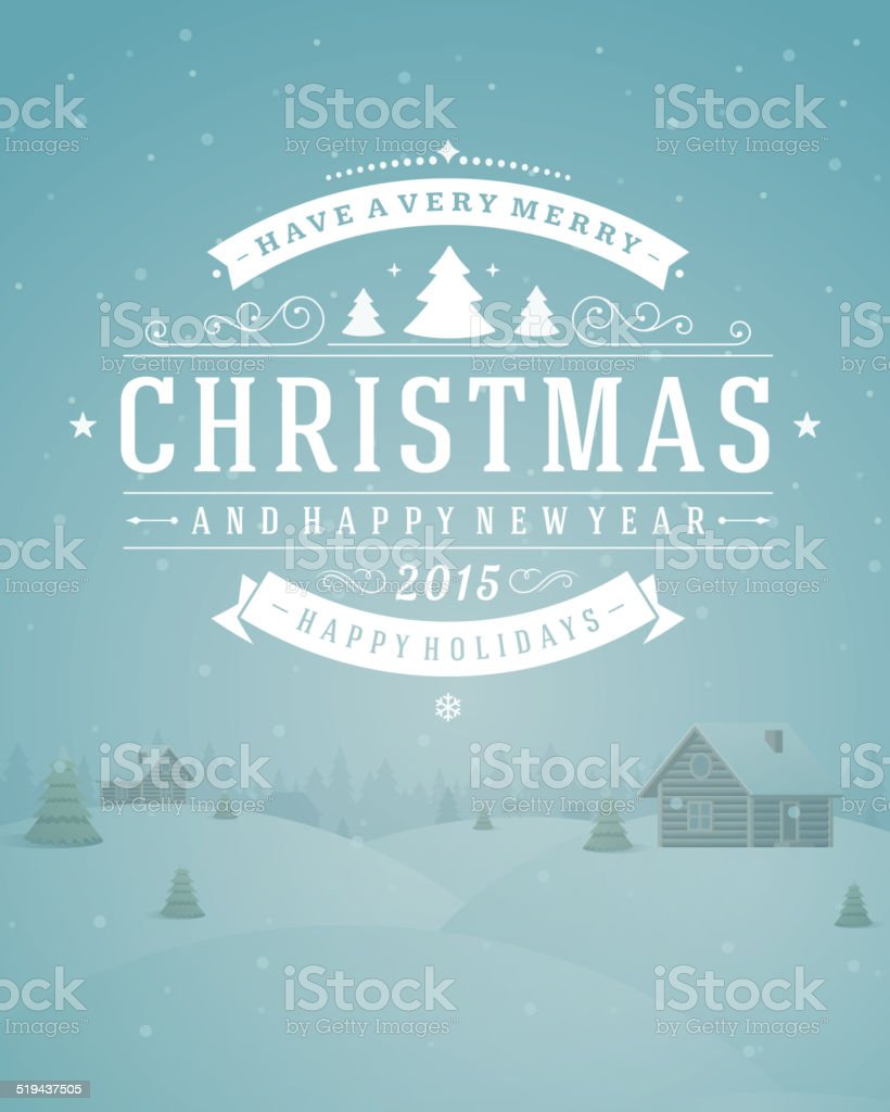 Christmas retro typographic and ornament decoration vector art illustration