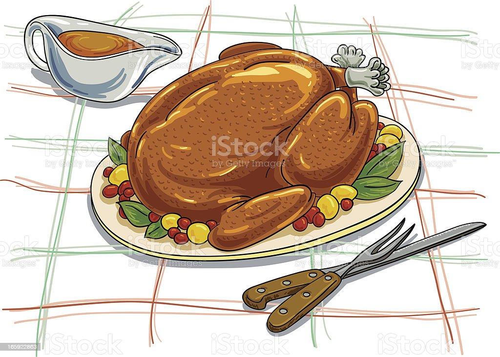 Christmas roasted turkey illustration vector art illustration