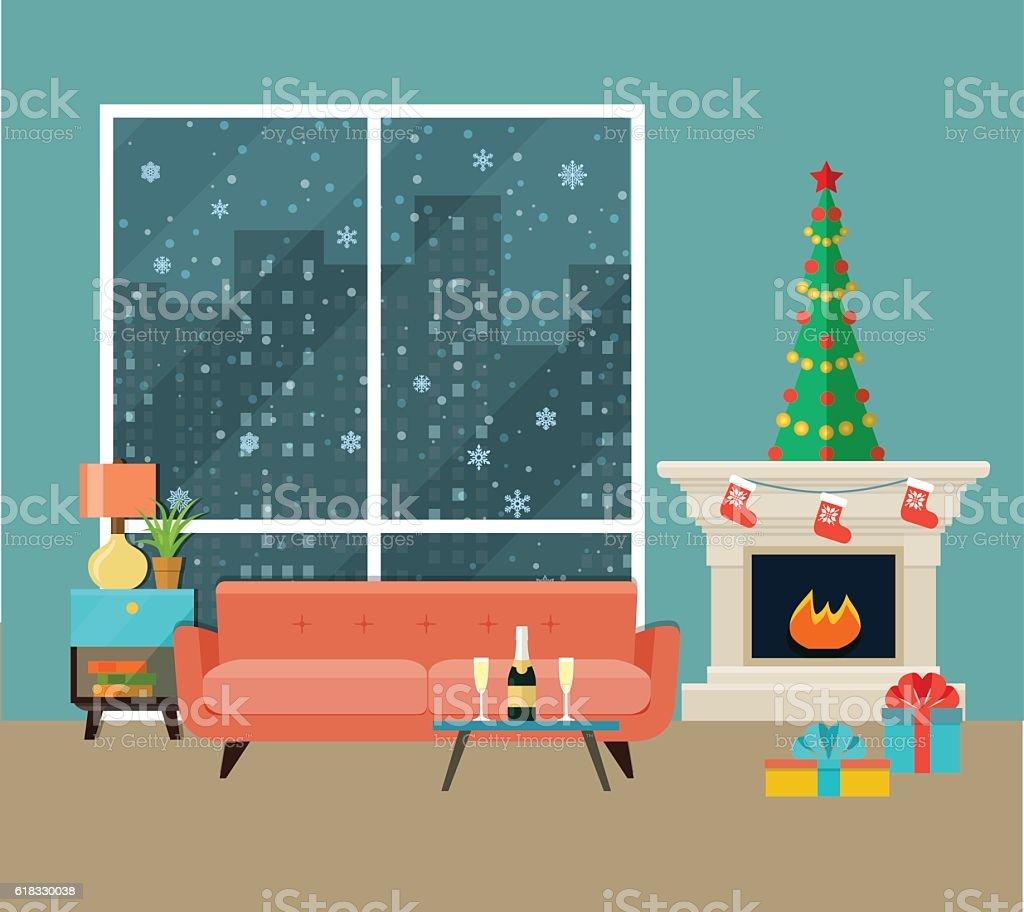 Christmas room interior. Christmas tree, fireplace and sofa. Vector flat illustration vector art illustration