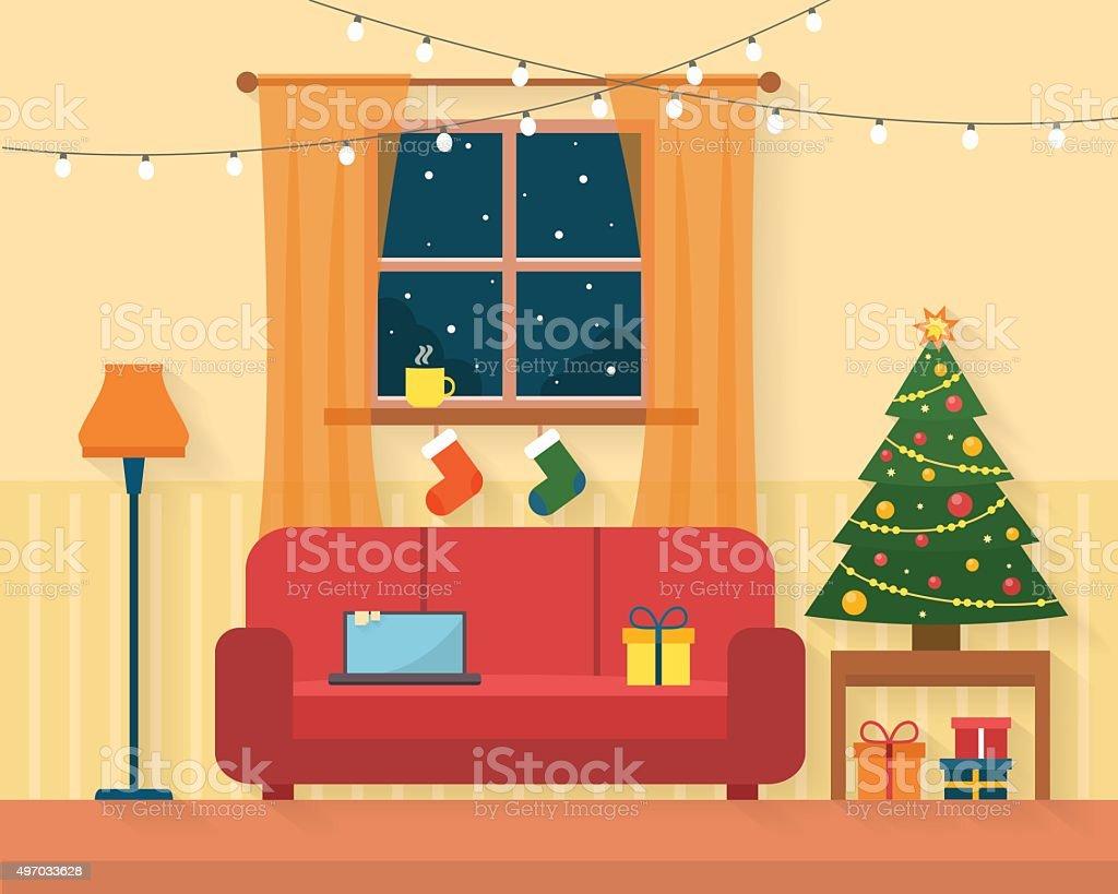 Christmas room interior. vector art illustration