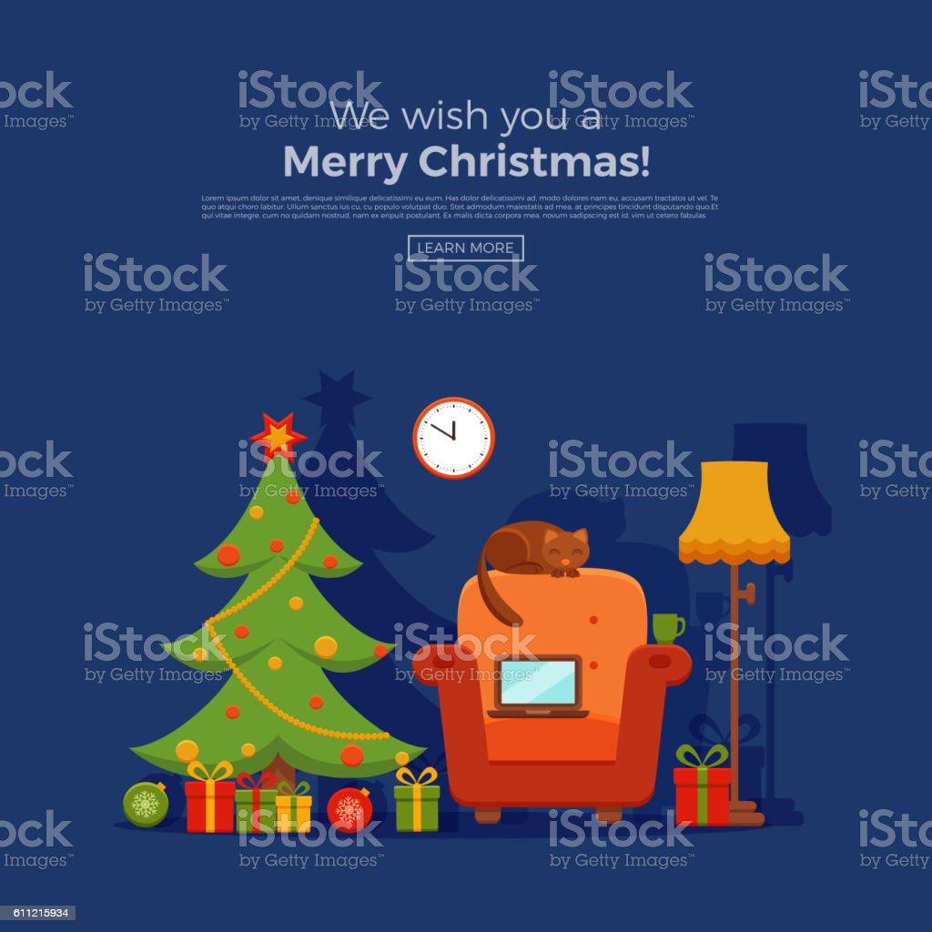 Christmas room interior vector art illustration