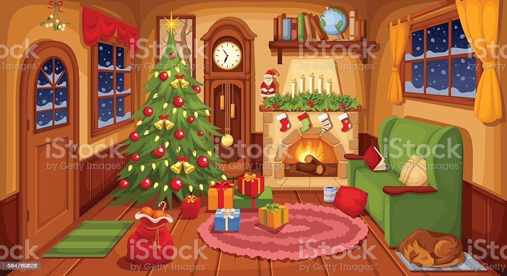 Christmas room interior. Vector illustration. vector art illustration