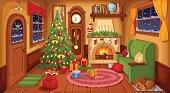 Christmas room interior. Vector illustration.