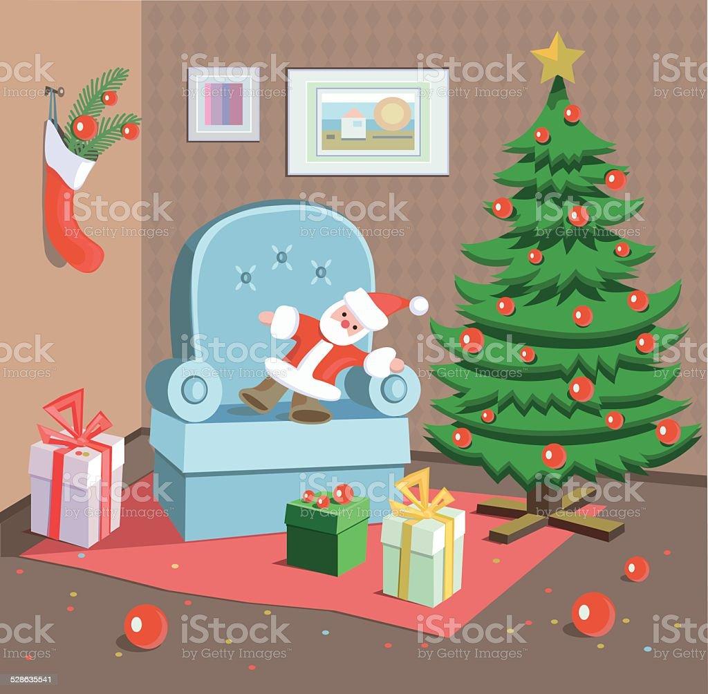 Christmas room vector art illustration