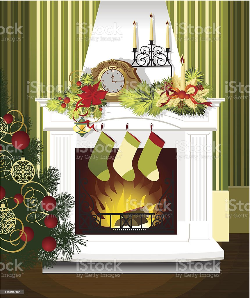 Christmas room with stockings and fireplace royalty-free stock vector art