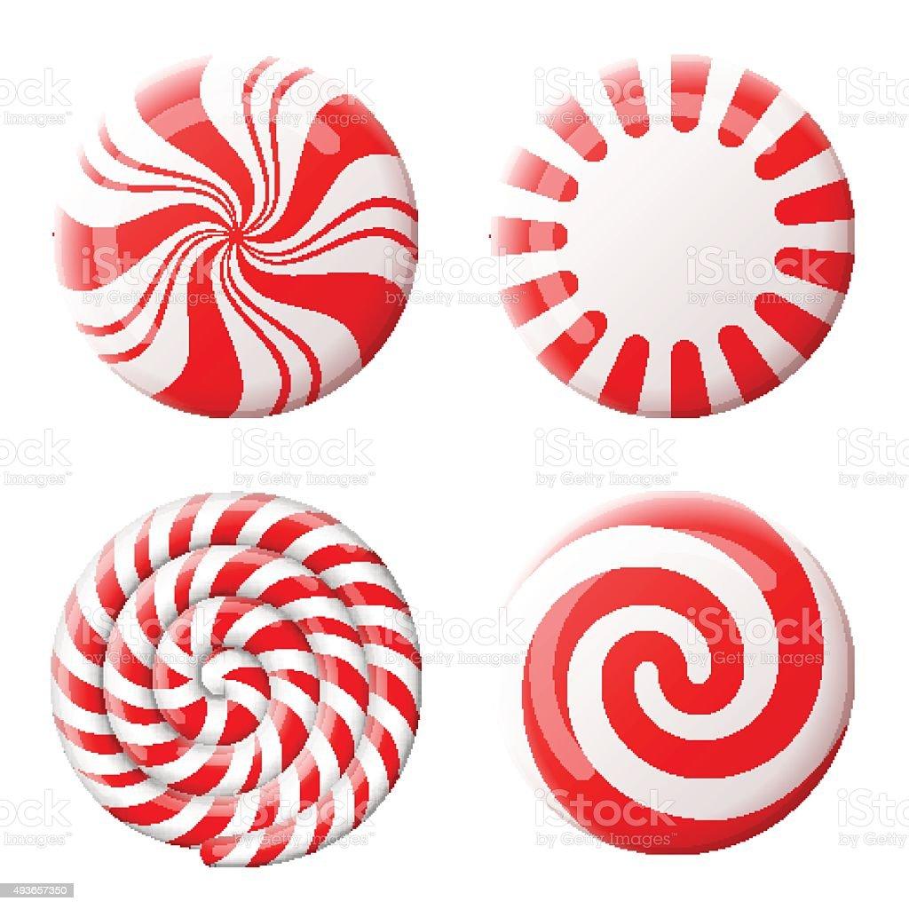 Christmas round candy set vector art illustration