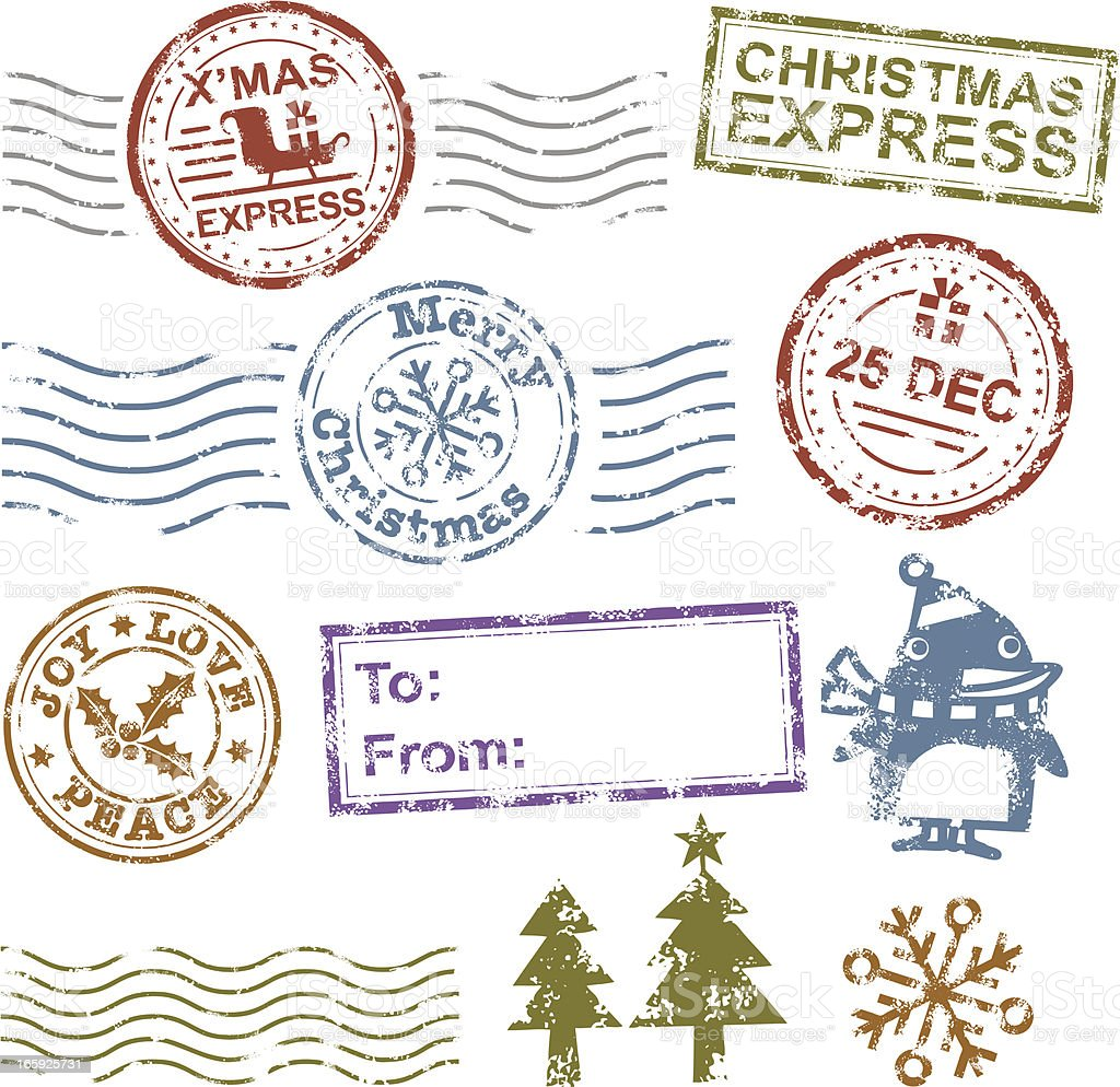 Christmas Rubber Stamp royalty-free stock vector art