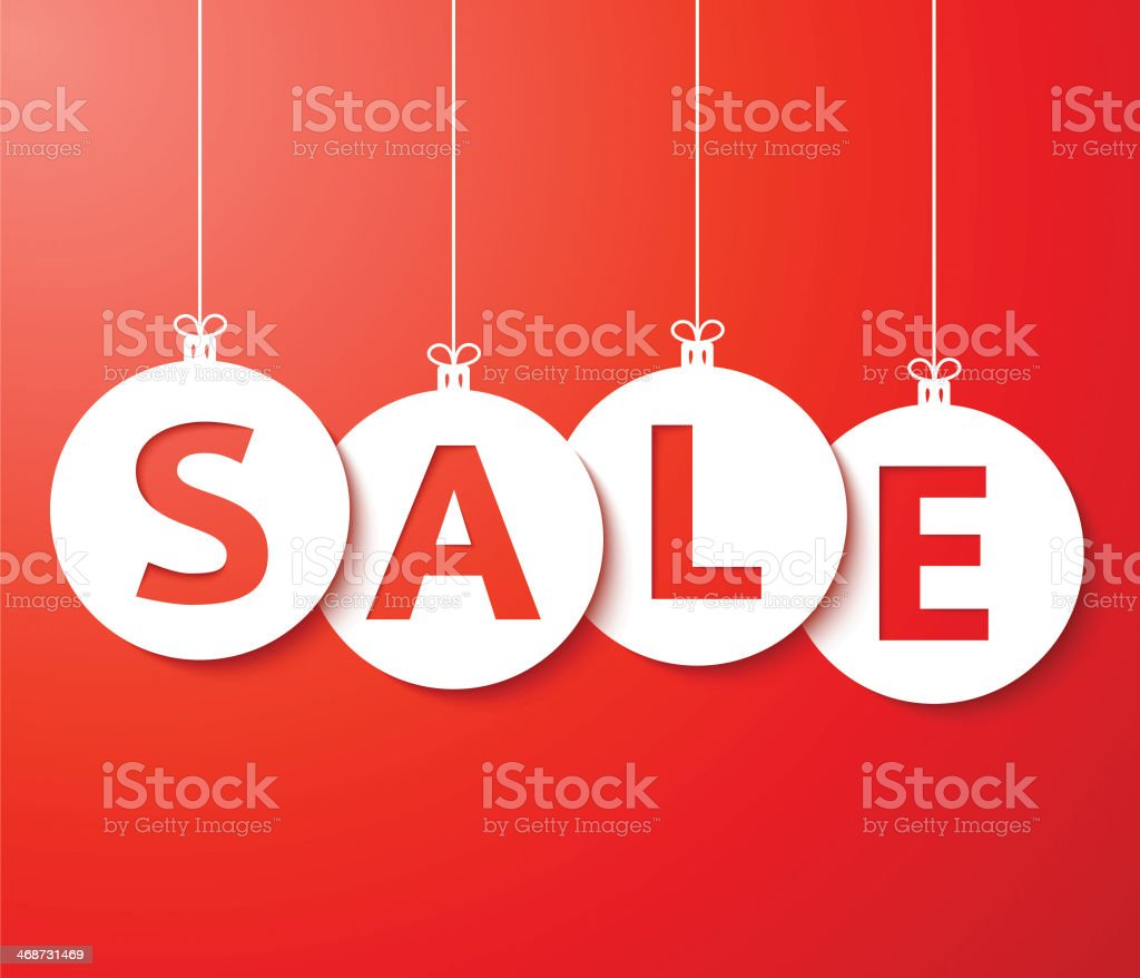 Christmas sale balls (cut the paper) Vector. royalty-free stock vector art
