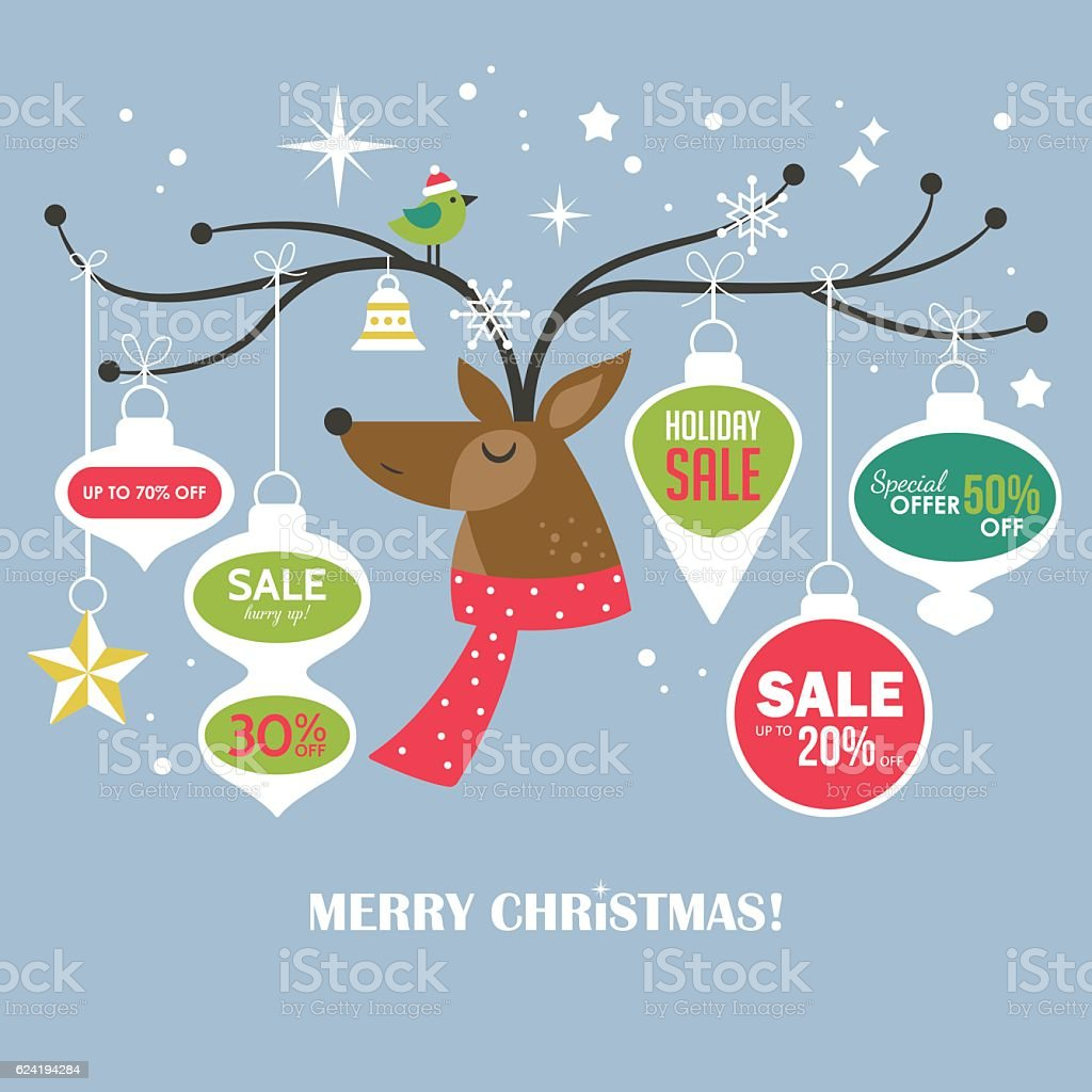 Christmas sale banner design template with cute deer. vector art illustration