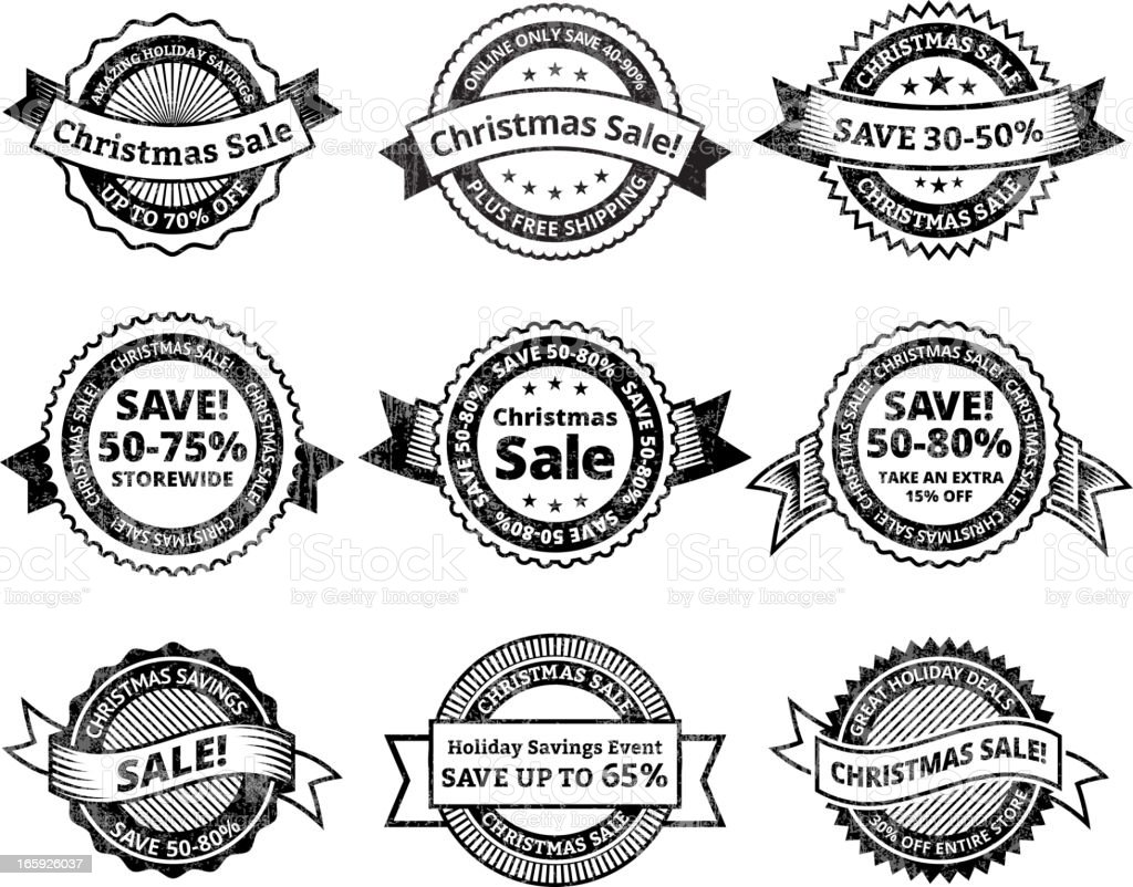 Christmas Sale black & white royalty free vector icon set royalty-free stock vector art