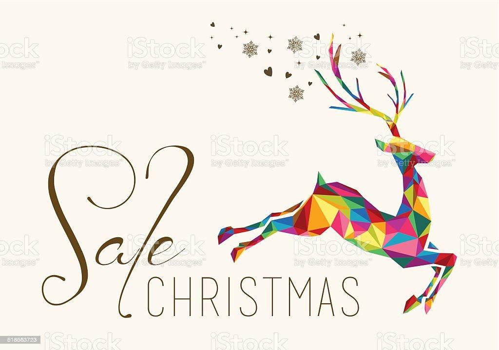 Christmas sale colorful reindeer vintage card vector art illustration
