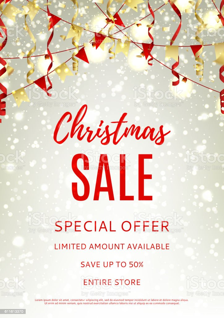 Christmas sale flyer template royalty-free stock vector art